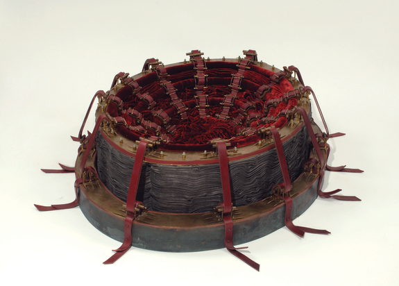 Cathy de Monchaux, Red, 1999; Brass, copper, velvet, leather, canvas, steel, graphite, and thread, 14 x 46 x 34 in.; National Museum of Women in the Arts, Gift of Heather and Tony Podesta Collection; © Cathy de Monchaux; Photo by Lee Stalsworth