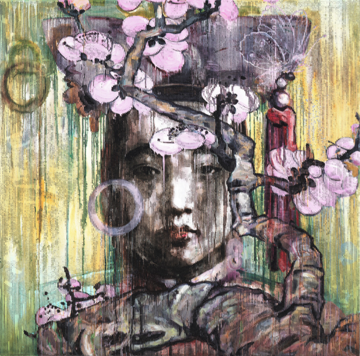 Hung Liu, Winter Blossom, 2011; Woodblock print with acrylic ink, 32 1/4 x 29 3/4 in.; National Museum of Women in the Arts, Gift of Steven Scott, Baltimore, in honor of the artist and the Twenty-fifth Anniversary of the National Museum of Women in the Arts; © Hung Liu