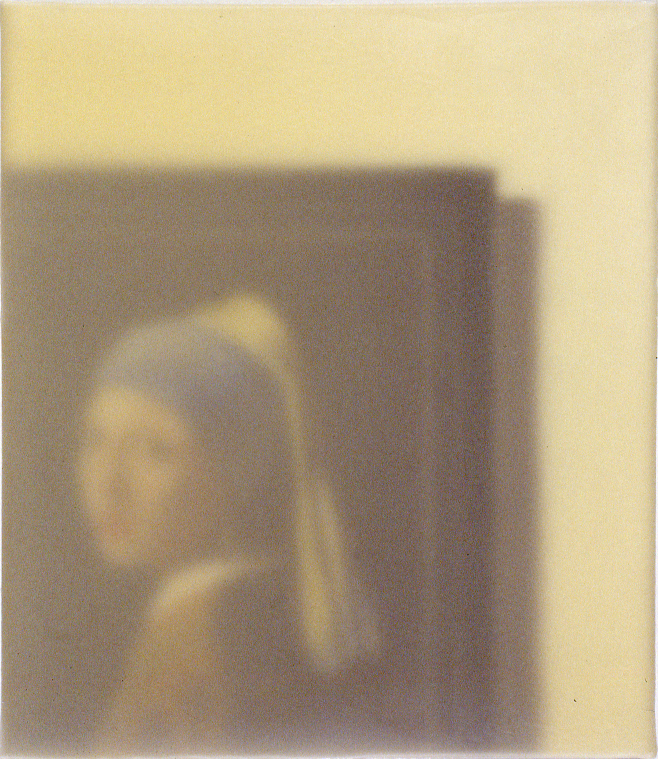 A blurred image of a painting hanging on a wall that depicts a woman wearing a turban and a pearl earring