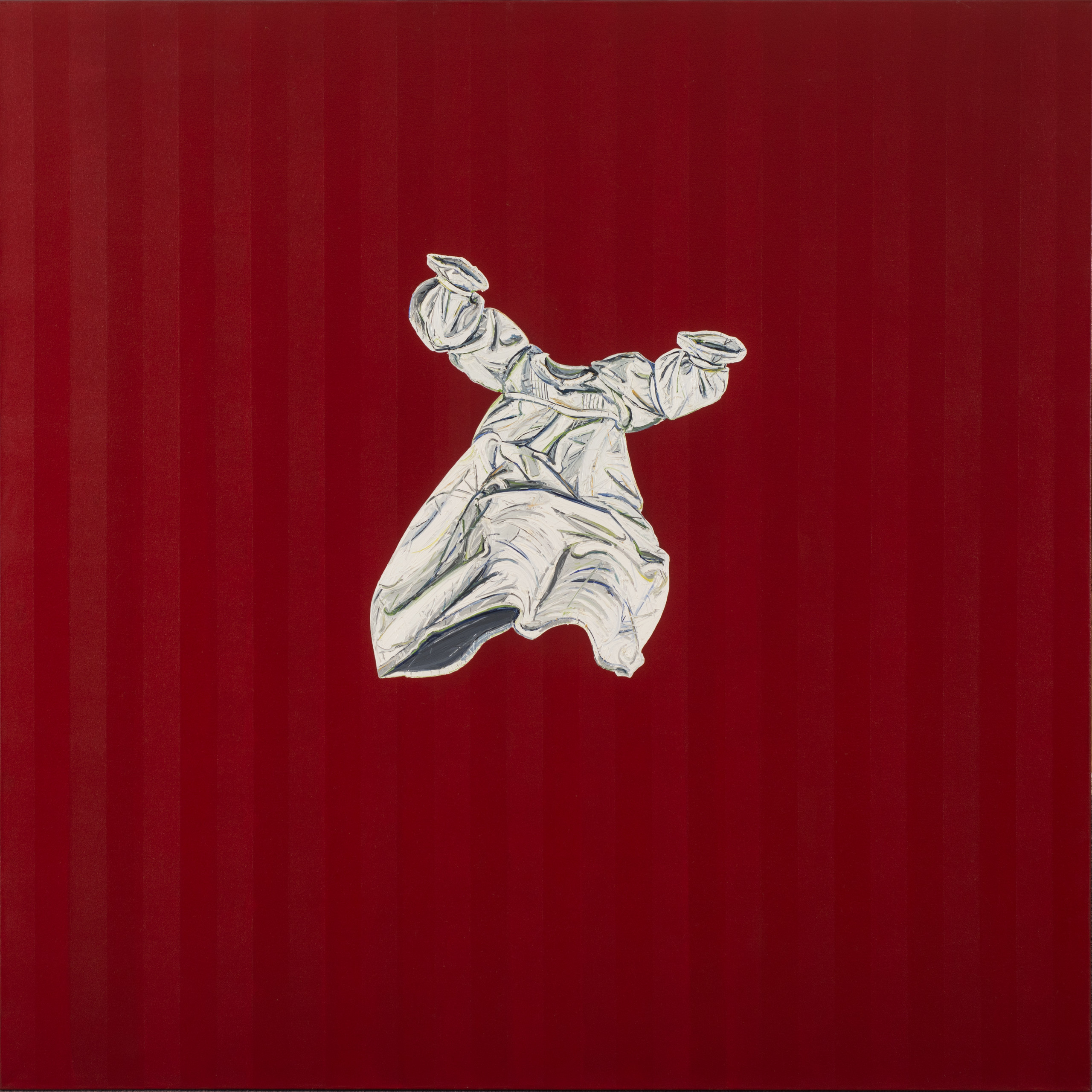 A floating nightgown on a background of subtle vertical red stripes alludes to the shape and movement of a body. The white nightgown is dwarfed by the red that surrounds it, and floats with its arms raised and hem disturbed.