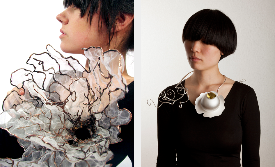 Two images side by side. The image on the left depicts a dark-haired, light-skinned woman wearing a black top and a decorated with an enormous organza flower trimmed with copper. In the right-hand image, a light-skinned woman with short dark hair wears a black blouse. Wrapped around her neck is an abstract sculpture of a water lily made of silver.