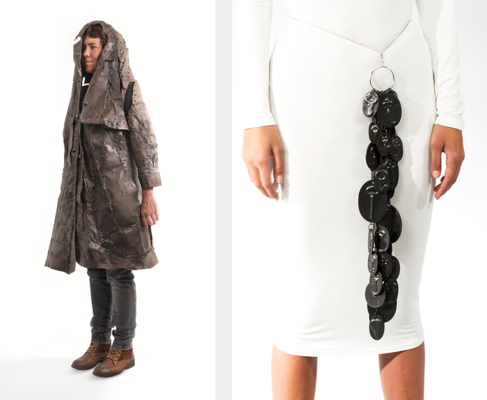 Two images side by side. In the left image, a woman stands against a white background wearing a brown hooded jacket made of metal. The image on the right shows a woman from the waist down wearing a white,  form-fitting dress and a belt. Hanging from the belt is a long strand of metal disks with the shapes of old keys molded onto them.