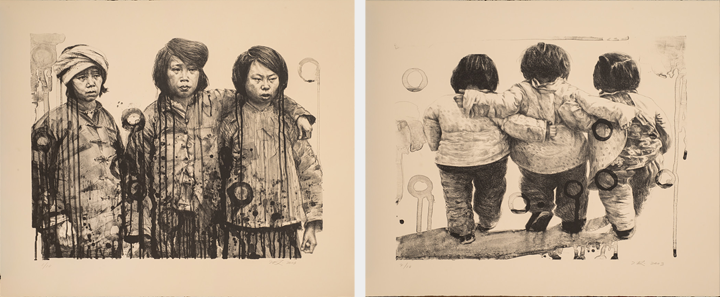 Two illustrations show side-by-side. The illustration on the left shows three women of Asian descent standing side by side with their arms around one another. The illustration on the right shows the backs of three women, walking away from the viewer with their arms around one another.