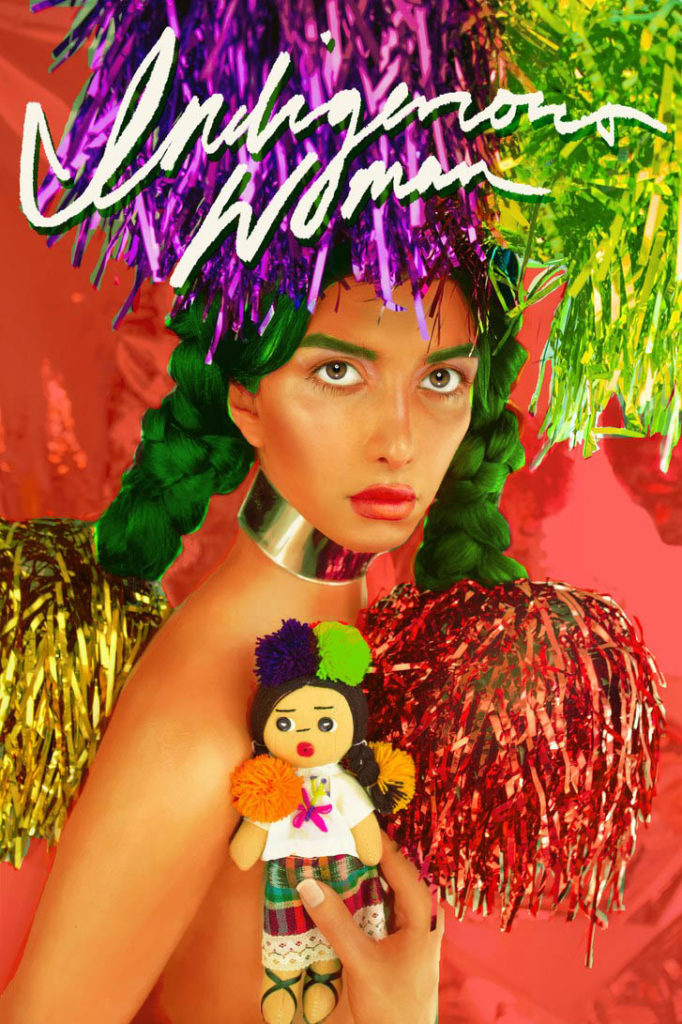 """The cover of """"Indigenous Woman"""" is modeled off of Andy Warhol's Interview magazine; Photo by Martine Gutierrez; Courtesy Ryan Lee Gallery"""
