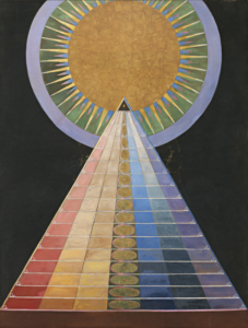 Hilma af Klint, Group X, No. 1, Altarpiece (Grupp X, nr 1, Altarbild), 1915; from Altarpieces (Altarbilder); Oil and metal leaf on canvas, 237.5 x 179.5 cm; The Hilma af Klint Foundation, Stockholm; Photo by Albin Dahlström, the Moderna Museet, Stockholm