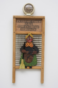 Betye Saar, Extreme Times Call for Extreme Heroines, 2017, Mixed media and wood figure on vintage washboard, clock, Courtesy of the artist and Roberts Projects, Los Angeles, California