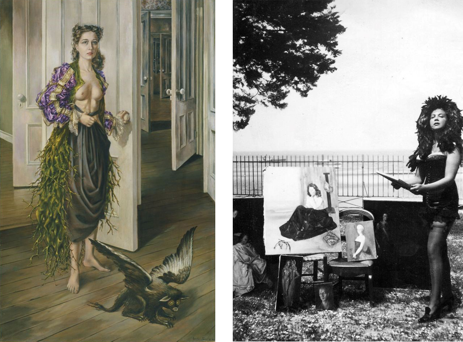 Left to right: Dorothea Tanning, Birthday, 1942; On view in Dorothea Tanning: Behind the Door, Another Invisible Door at the Museo Nacional Centro de Arte Reina Sofía (Madrid); Leonor Fini in Arcachon, France, in 1940; Art Newspaper; Courtesy of the Leonor Fini Estate