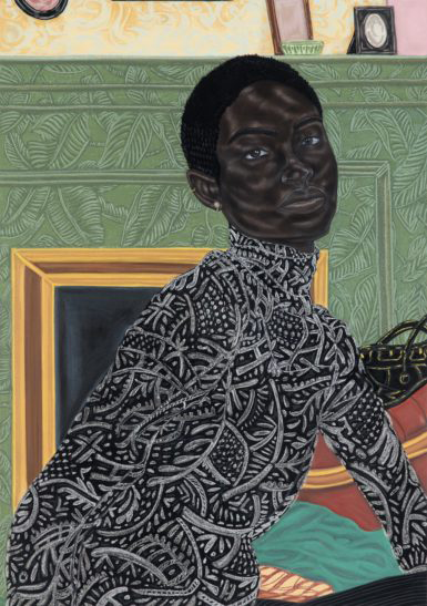 An illustration of a dark-skinned woman with short, black hair, posing in front of a green, leaf-patterned background. A gold-colored frame hangs on the wall behind her, but the image in the frame is unclear. The woman wears pearl earrings and a black turtle-neck dress with a white geometric pattern.