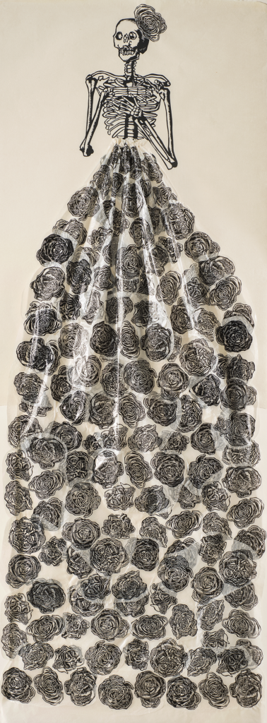 Audrey Niffenegger, Black Roses (In Memory of Isabella Blow), 2007; Linocut, Gampi tissue, and thread on Japanese paper, 67 x 25 1/2 in.; National Museum of Women in the Arts, Gift of the artist; © Audrey Niffenegger; Photo by Lee Stalsworth
