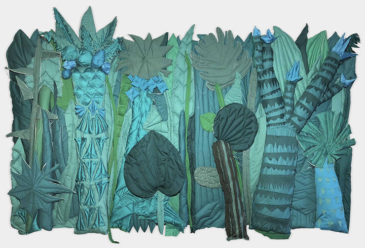 Hoda Takawol, Jungle #1, 2018, Fabric, wadding, thread, metal and wood, 220 x 350 x 25 cm