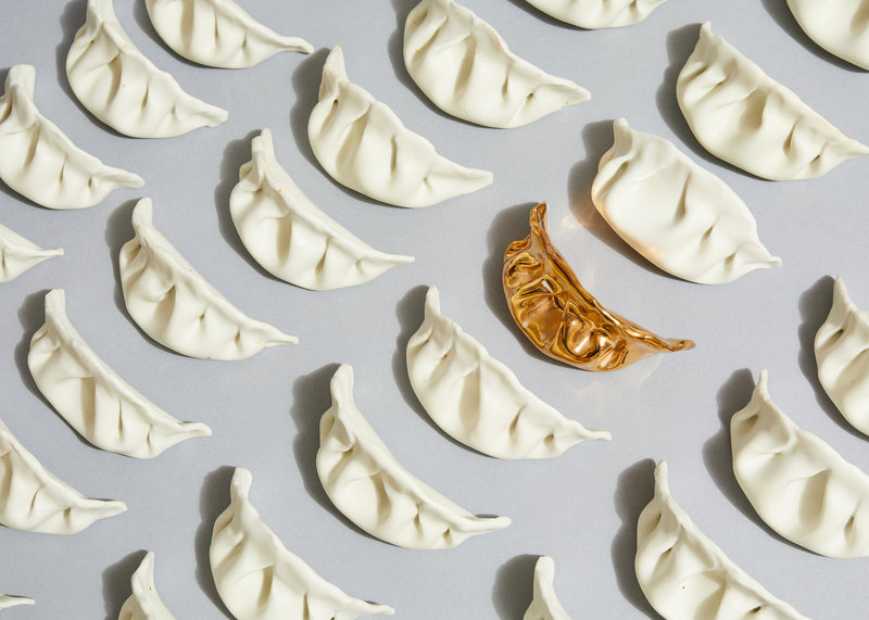 Artist Stephanie Shih's porcelain dumplings; Courtesy of Robert Bredvad