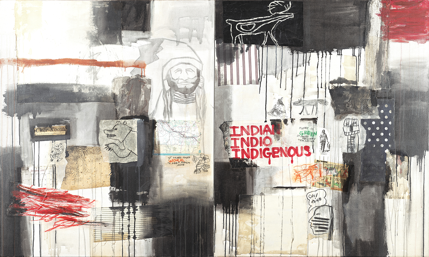 A large-scale collage including striped and polka-dotted fabrics; the masthead of Smith's reservation newspaper, Char-Koosta; parts of a U.S. map; and a comic strip. These collaged elements are juxtaposed with blocks of stained or roughly brushed and dripped paint.