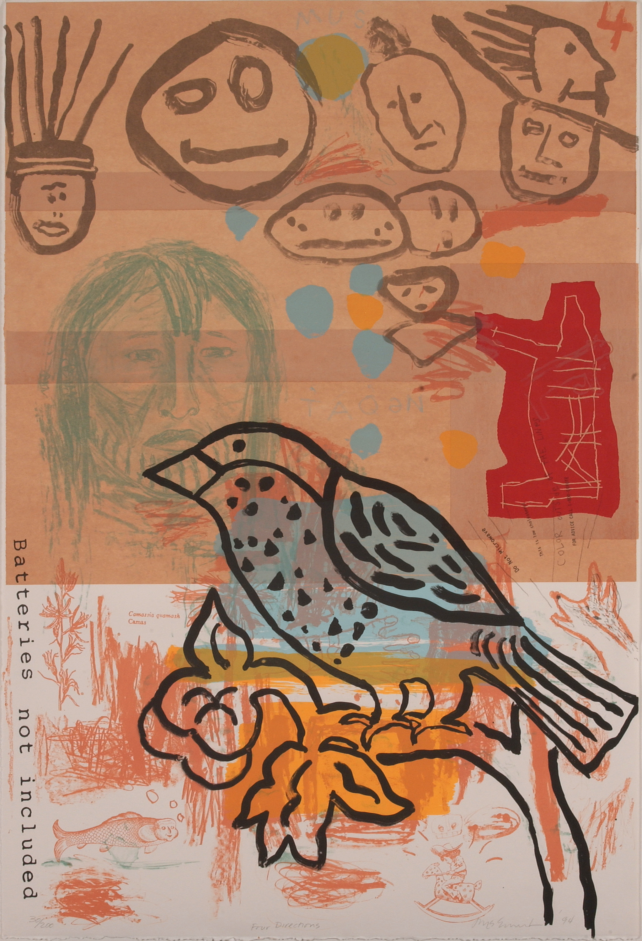 """A black line painting of a bird with several gray stick figure faces, basic animal drawings, and a small, detailed lake in the background. """"Batteries Not Included"""" is typewritten down the bottom left side. The colors are terracotta neutrals—tan, red, orange, and light blue."""