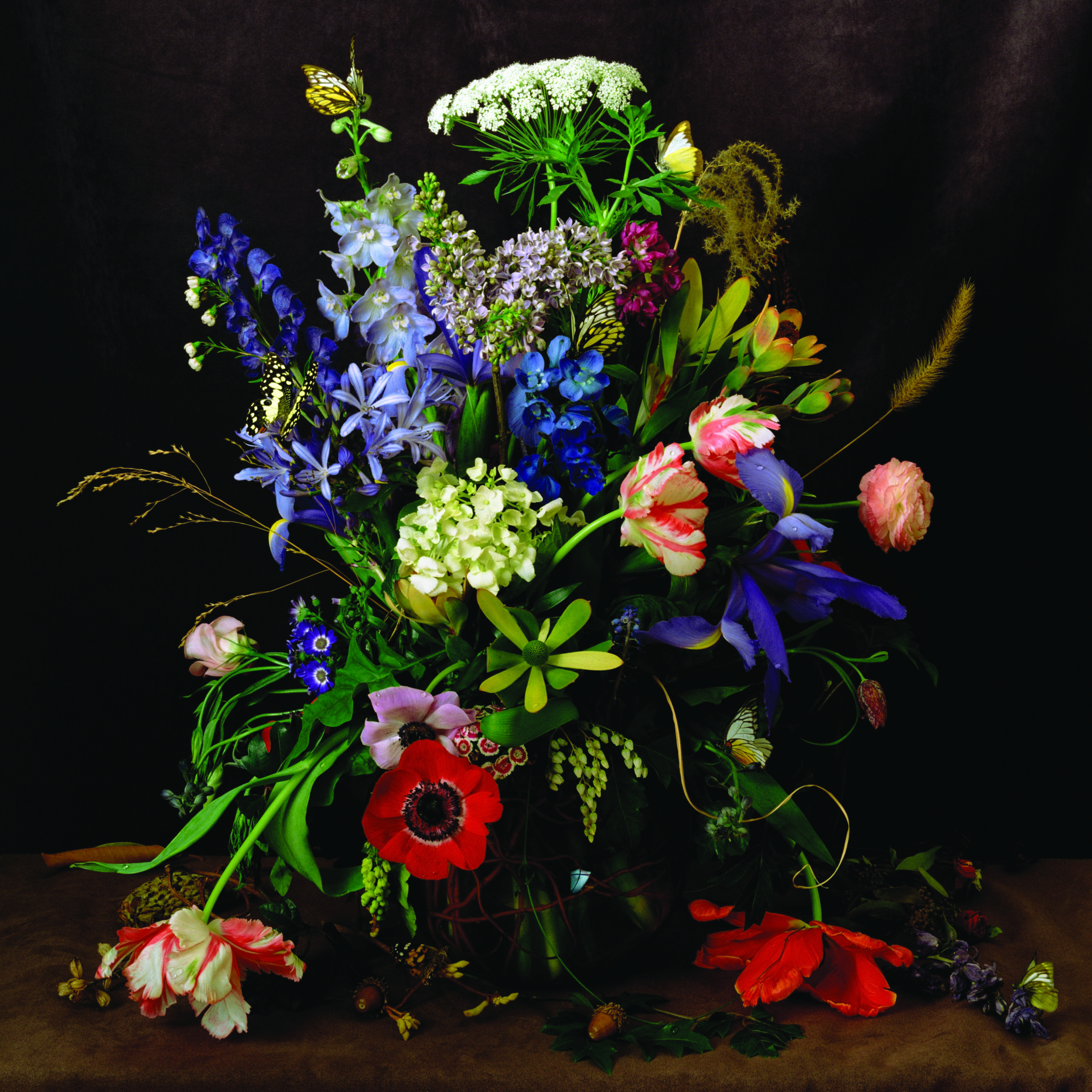 A colorful portrait of a lush arrangement of flowers including poppies, peonies, roses, carnations, and more. Some flowers have small water drpolets on them and a butterfly and bee are perched on others. The image is a still life photograph, though it looks like a painting.