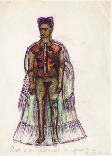 A charcoal and colored pencil self portrait sketch by Frida Kahlo titled Appearances Can Be Deceiving. The artist is depicted with her signature braids piled atop her head, the dress she wears is transparant so the viewer can see under she wears her corrective corset. Her sprin is depicted as a steel rod and there are blue butterfly tattoos on her right leg.