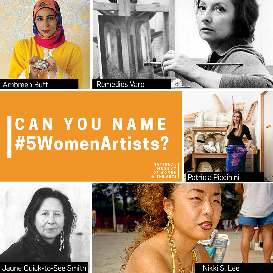 A graphic depicting photos of five different women artists including: Ambreen Butt, Remedios Varo, Patricia Piccinini, Nikki S. Lee, and Jaune Quick-to-See Smith.