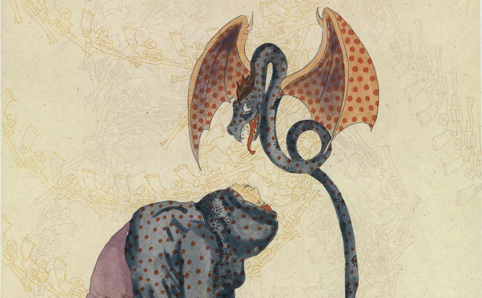 Ambreen Butt's etching depicts a dragon hovering above a woman wearing a hijab with her head arched back, chest up to the sky. The pale yellow background is patterned with the sketches of hand guns.