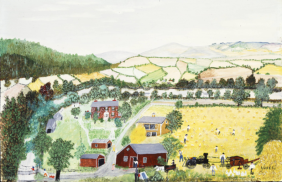A painting of a scenic rural landscape