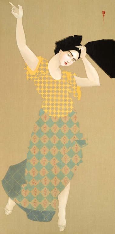 A vertical oil painting in earthy colors of a woman with black hair who seems to be mid-move in a dance, her left hand pointing up to the sky, her right placed on her head with her head tilted to the right, her feet on her tip toes. She wears a patterned yellow blouse and a patterned long skirt in teal.