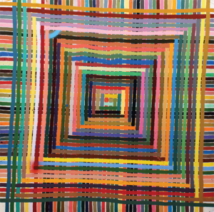 A painting by Alicia McCarthy, comprising of countless rainbow lines in square shapes inside of one another.