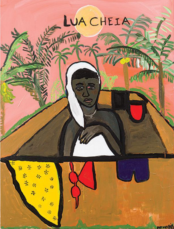 "A painting of a black woman who is positioned in the center, wearing a white head scarf and dress, with a subtle pink sky behind her, palm trees, a sun, and the words ""Lua Cheia"" painted in black over the sun. Her expression is forlorn and in the lower half of the painting there is a yellow bandanna, red goggles or a bikini, and blue shorts."