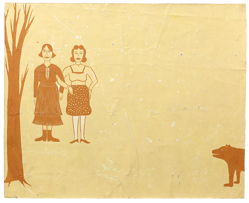 On the left of the sand-colored canvas, two stylized women wearing modest clothing stand with linked arms. Next to them is a barren tree. A wolf-like animal emerges from the bottom right corner. All the figures are painted with the same burnt orange color, so that the print is two-toned.