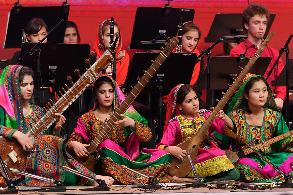 A shot of Afghanistan's all-female orchestra performing at the World Economic Forum in Davos