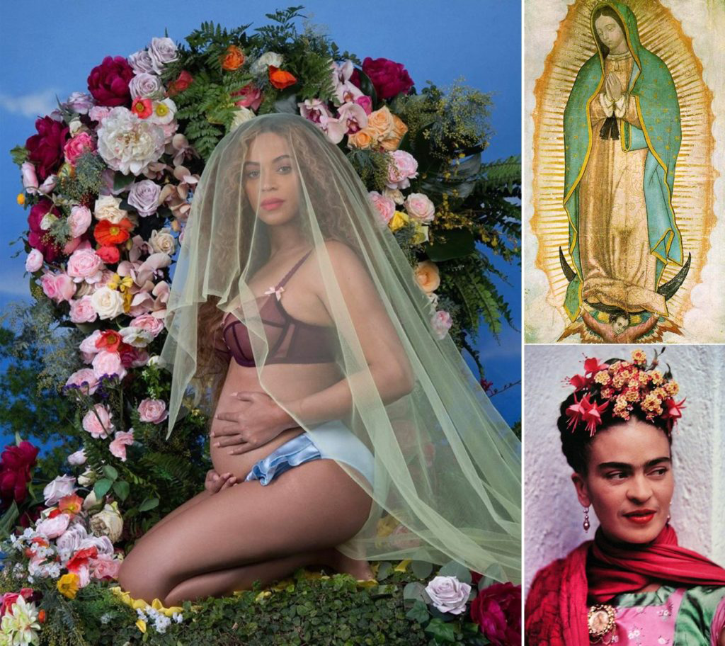Clockwise: Awol Erikzu's photograph of Beyoncé; Our Lady of Guadalupe; Frida Kahlo photographed by Nickolas Muray