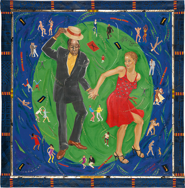 A painting by Emma Amos of an African American man and woman dancing in the center of a green circle that is framed by a blue background. Around them other smaller figures--white, black, singular, couples, clothed, naked--dance in varying poses.