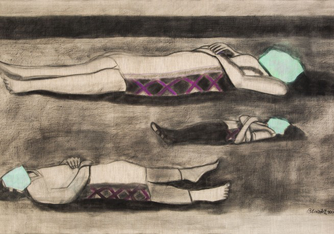 Beatriz González, Los Predicadores, 2000; Charcoal and pastel on canvas; Collection Pérez Art Museum Miami, museum purchase with funds provided by Jorge M. Pérez