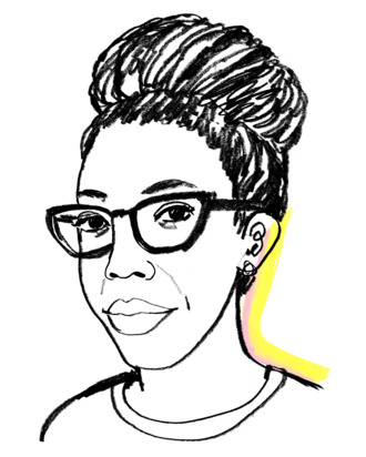 Illustration of Amy Sherald by Lauren Tamaki; Photo courtesy of The Cut