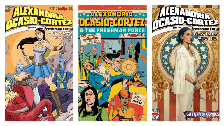 Rep. Alexandria Ocasio-Cortez gets the comic book treatment; Images (L to R): Joe Benitez; Joel Herrera; Joe Benitez