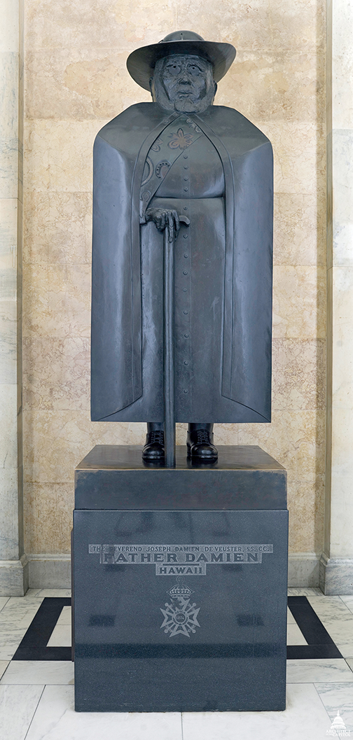 Marisol's Father Damien (1969) statue on display in the National Statuary Hall Collection at the United States Capitol; Photo courtesy of the Architect of the Capitol