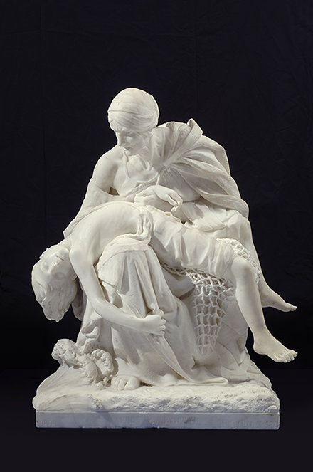 Sarah Bernhardt, Après la tempête (After the Storm), ca. 1876; White marble, 29 1/2 x 24 x 23 in.; National Museum of Women in the Arts, Gift of Wallace and Wilhelmina Holladay; Photo by Lee Stalsworth