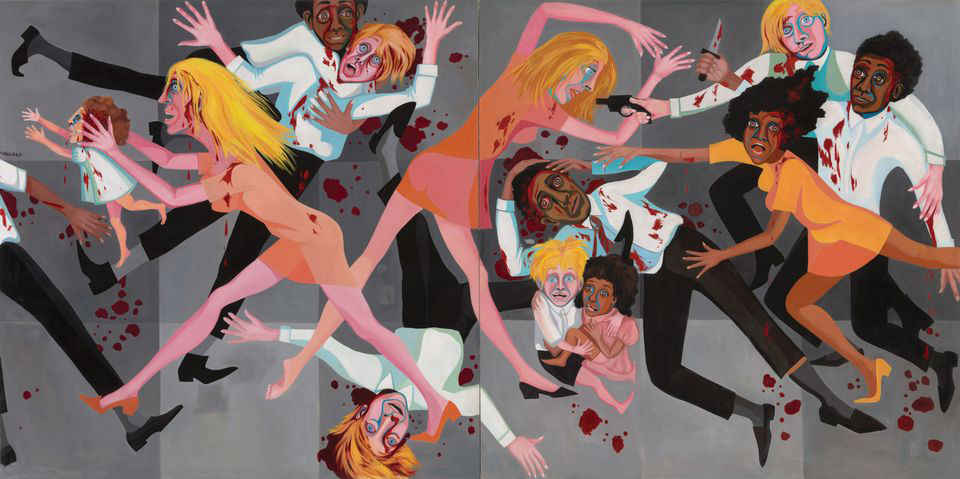Faith Ringgold's painting American People Series #20: Die was made in 1967, the year of widespread race riots across the U.S. It is Ringgold's response to Picasso's Guernica and features a 15 figures--both black and white people--with arms and legs akimbo and shocked looks on their faces, some covered in blood, some holding knifes and guns, some running, and some protecting one another.