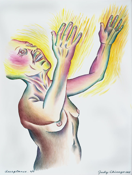 "Judy Chicago's painting on porcelain ""Acceptance,"" in it a naked figure holds her outstretched arms up to the sky with a yellow glow around them, and her face, which also looks up and euphoric."