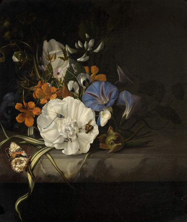 Rachel_Ruysch_-_Spray_of_flowers_with_insects_and_butterflies_on_a_marble_slab_-_1690s_-_PD.38-1975