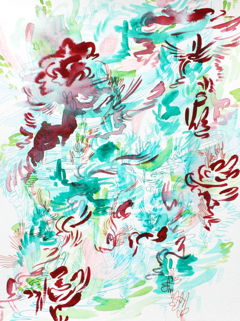 "Kim Sandara's ""Sometimes I Dream in Lao,"" an abstract drawing containing whimsical brushstrokes that resemble lily pads, birds, and water in some parts. The color scheme is teal, light blue, specked with maroon accents."