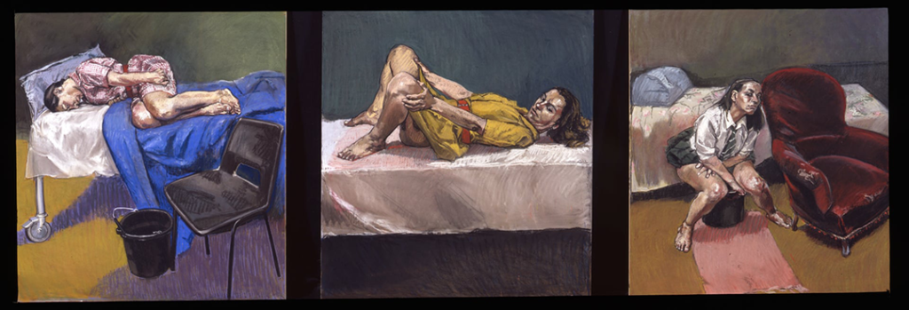 A triptych of paintings by Paula Rego which depict three women who are in the process of having an abortion--one sits curled on a bed with a bucket nearby, another sits with her legs up and spread, and a third sits over a bucket and towel.