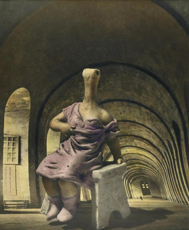 A surrealist painting by Dora Marr featuring a strange, bird-human hybrid wearing a purple nightgown and purple socks seated on a white bench in a long hallway that extends and warps to the left.