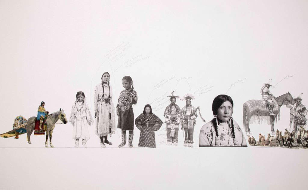 Wendy Red Star's Um-basax-bilua, 'Where They Make the Noise' 1904–2016 is a timeline of historical images of Native Americans and the artist's personal photographs, arranged in a 130-foot-long installation and annotated by the artist in pencil.