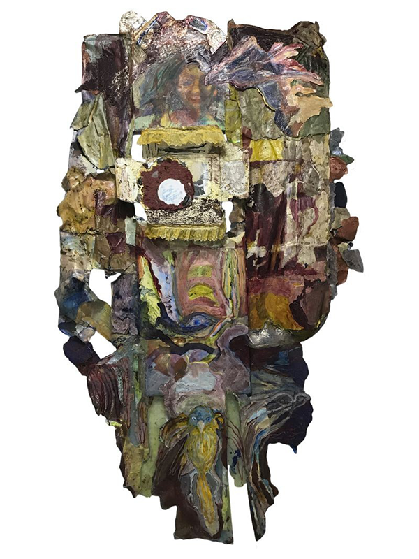 "Suzanne Jackson's sculpture ""Her Empty Vanity"" made from acrylic, mixed papers, canvas, panel, lace, mirror with shells"