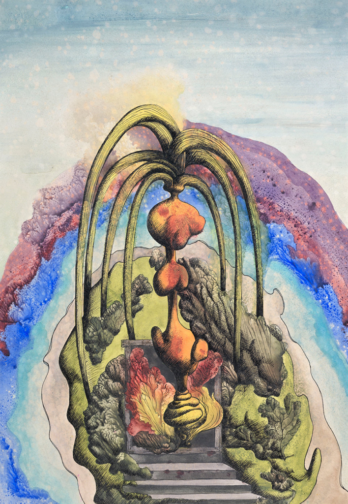 An abstract, surrealist painting by Ithell Colquhoun
