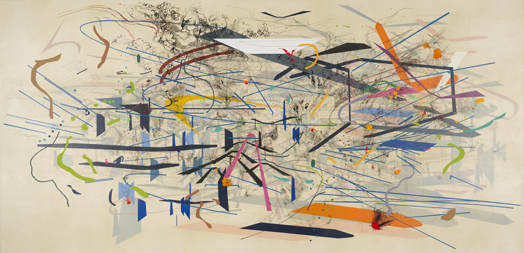 Julie Mehretu's Retopistics: A Renegade Evacuation painting, which features a variety of precise abstract shaped atop a cream background.