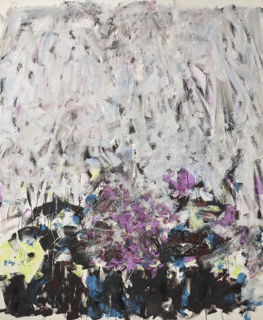 "Joan Mitchell extended the scope of abstract-expressionist painting by applying it to the subject of nature. Like most of her works, Sale Neige (Dirty Snow) signifies Mitchell's memories of or feelings for the landscape. The work may be an evocation of childhood memories of her home in Chicago or a reflection upon the feelings of isolation that the winter landscape can intensify.The pale grays, lavender, and cobalt blue in the top half of the canvas blend together to read as a chilly white crust, a sensation reinforced by the painting's title. The lower half, densely painted with broad strokes of dark blue, purple, green, and black, becomes the landscape under the snow. Cold and snow are frequent subjects within Mitchell's oeuvre. She remarked: ""I think of white as silent absolutely. Snow. Space. Cold. I think of Midwest snow…icy blue shadows."""