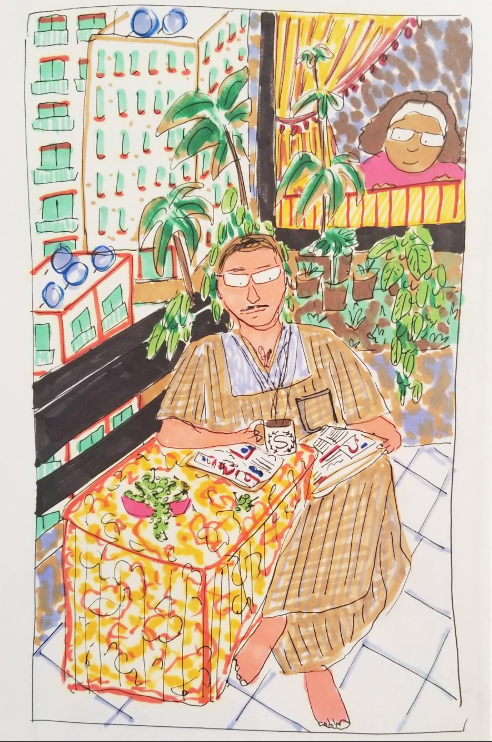 A cartoon sketch by Malaka Gharib of her father drinking Nescafe at a small table on a balcony full of plants in Egypt; he reads the paper while Gharib herself looks on at him from a window behind him