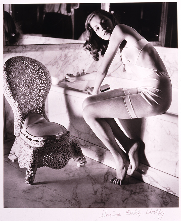 Louise Dahl-Wolfe's photo of young actress Lauren Bacall in Helena Rubinstein's Bathroom.