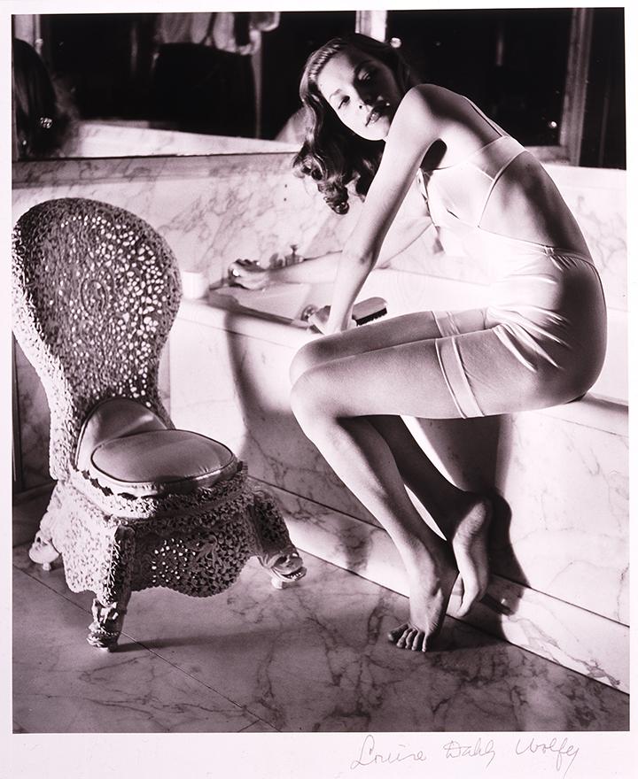 Louise Dahl-Wolfe's photo of young actress Lauren Bacall in Helena Rubinstein's Bathroom.