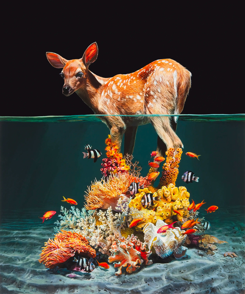 A hyperrealist painting that features a deer standing in water; the legs of the deer transforms into coral, succulents, and tropical fish, rooting it into the ocean's floor.