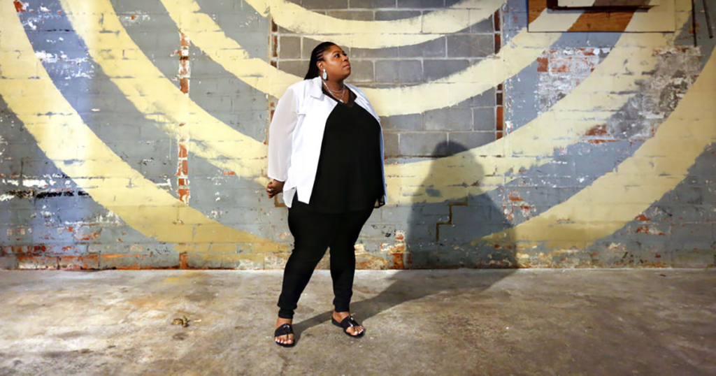 Samaria Rice stands in the future home of the Tamir Rice Afrocentric Cultural Center in Cleveland